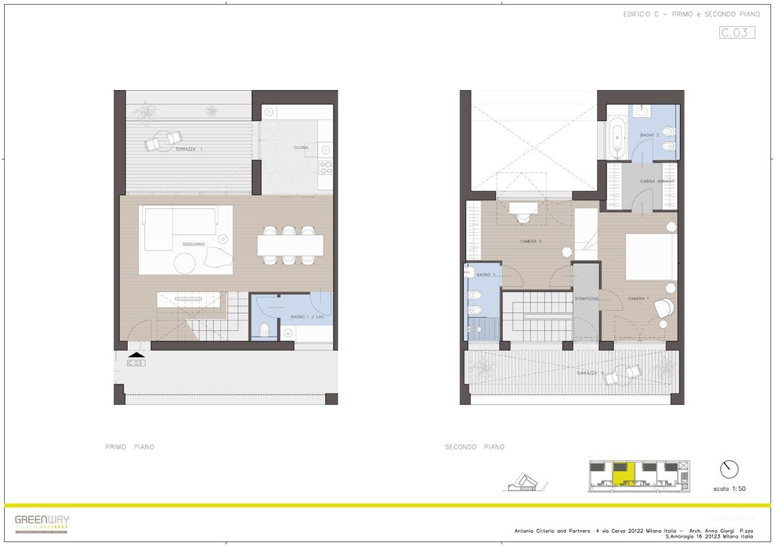 007 Piante dei duplex con accesso dai corridoi con affaccio su via Lomazzo