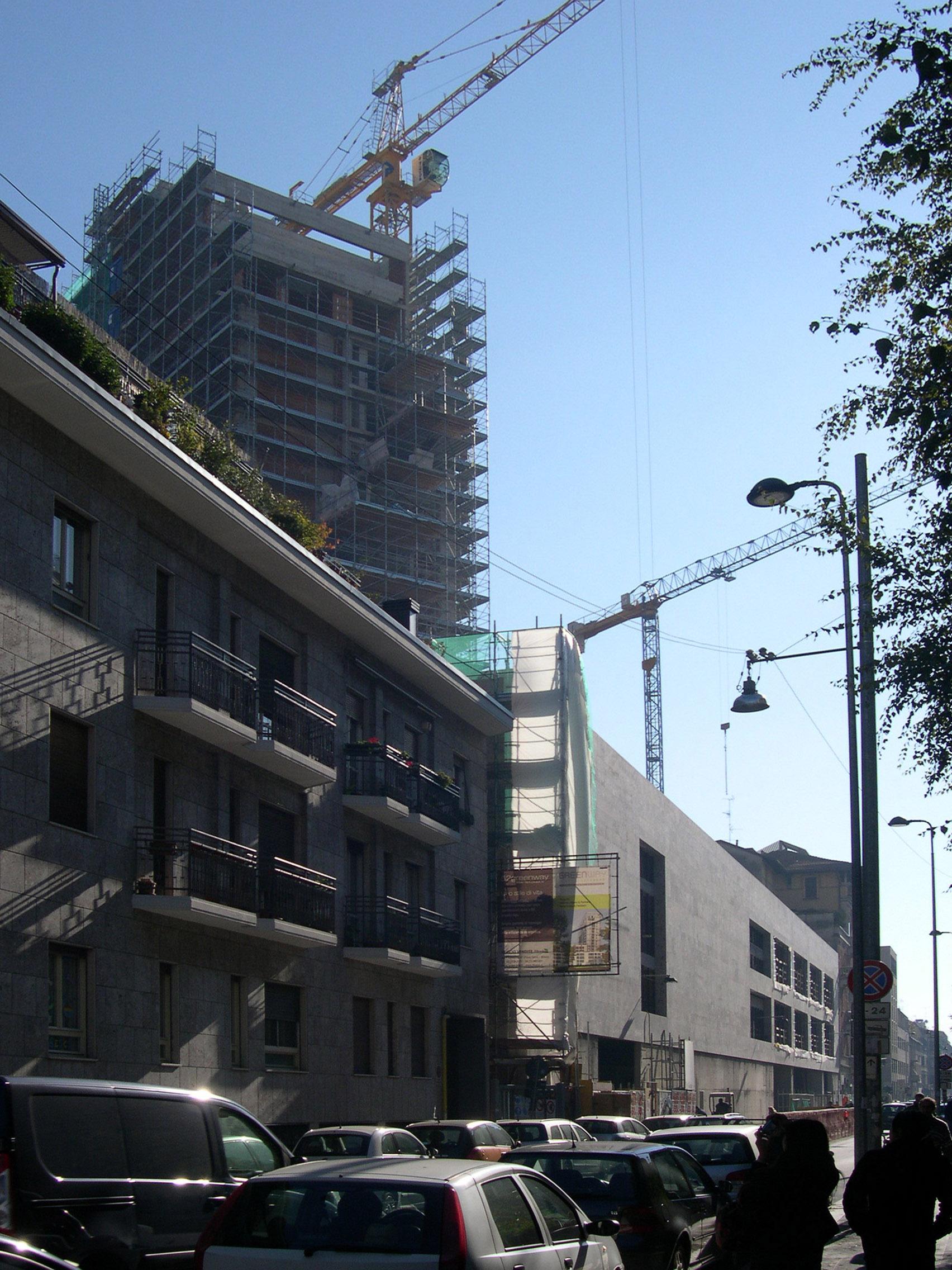Le abitazioni di via Lomazzo in costruzione, Milano 2010