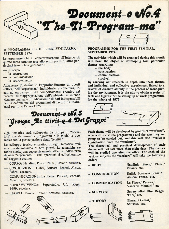 Global Tools, Bollettino n.1, 1973-1974