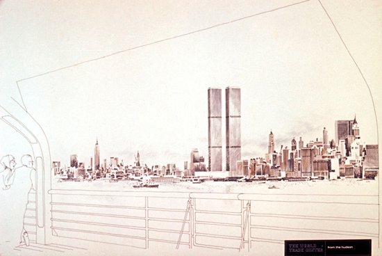Minoru Yamasaki, World Trade Center, New York, visione concettuale dall'Hudson River, 1962 ca.