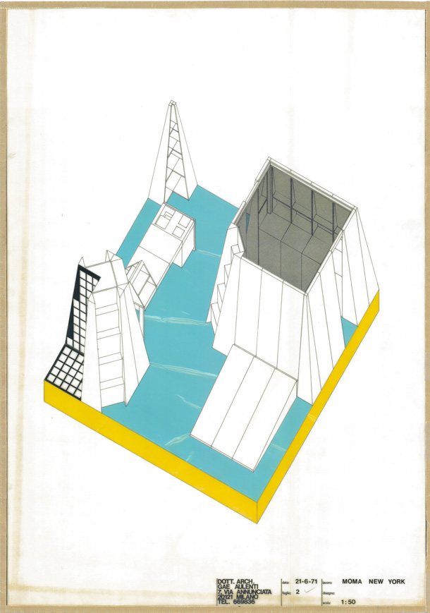 "13. Gae Aulenti, Axonometric of ""Three Elements,"" environment, 1972. Courtesy of Gae Aulenti Studio. Environments and Counter Environments. ""Italy: The New Domestic Landscape,"" MoMA, 1972, Graham Foundation for Advanced Studies in the Fine Arts"