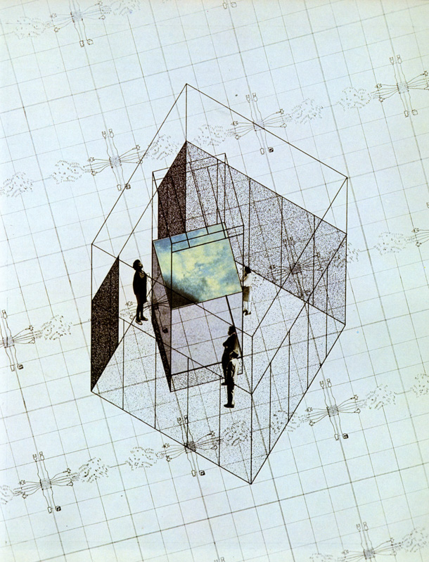 "23. Superstudio, Axonometric of the project for ""Italy: The New Domestic Landscape,"" Museo Pecci, Prato. © Beatrice Lampariello, courtesy of Superstudio Archive. Environments and Counter Environments. ""Italy: The New Domestic Landscape,"" MoMA, 1972, Graham Foundation for Advanced Studies in the Fine Arts"