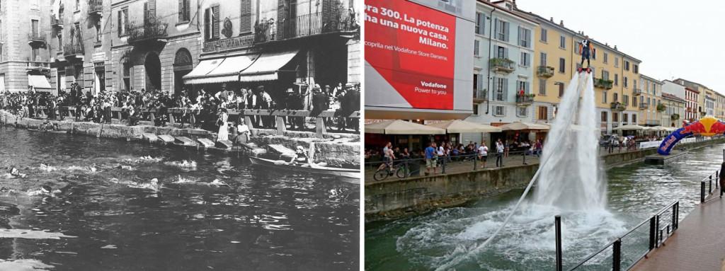 Una gara di nuoto sul Naviglio Grande negli anni '20 e un'esibizione di flyboard nel corso della manifestazione StraNavigli, 2015. Fonte: Flickr - Milano l'era inscì // www.repubblica.it