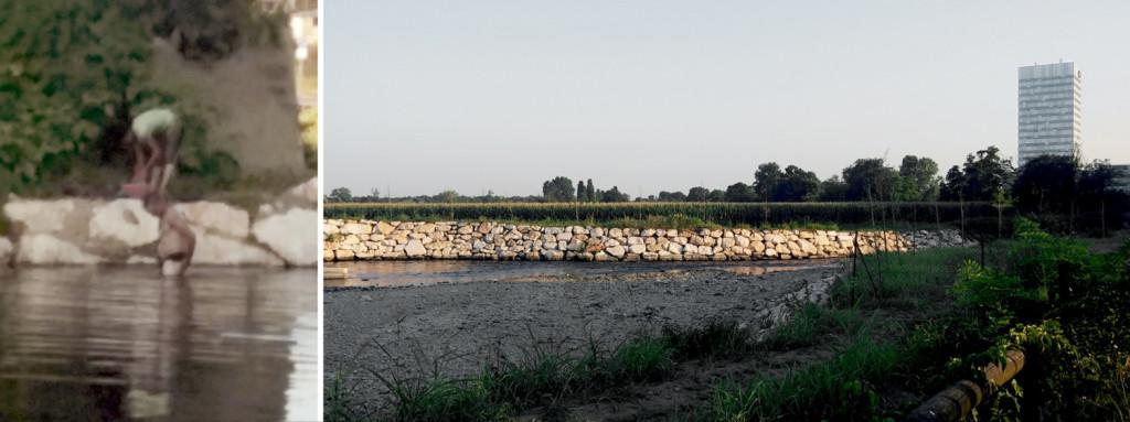 I bagnanti del Lambro nella torrida estate 2015.
