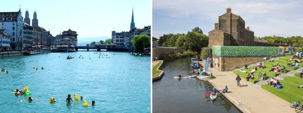 Bagnanti nel fiume Limmat a Zurigo e i nuovi spazi pubblici sul Regent's Canal di Londra. Fonte: Flickr - Ana B's Pics // www.kingscross.uk
