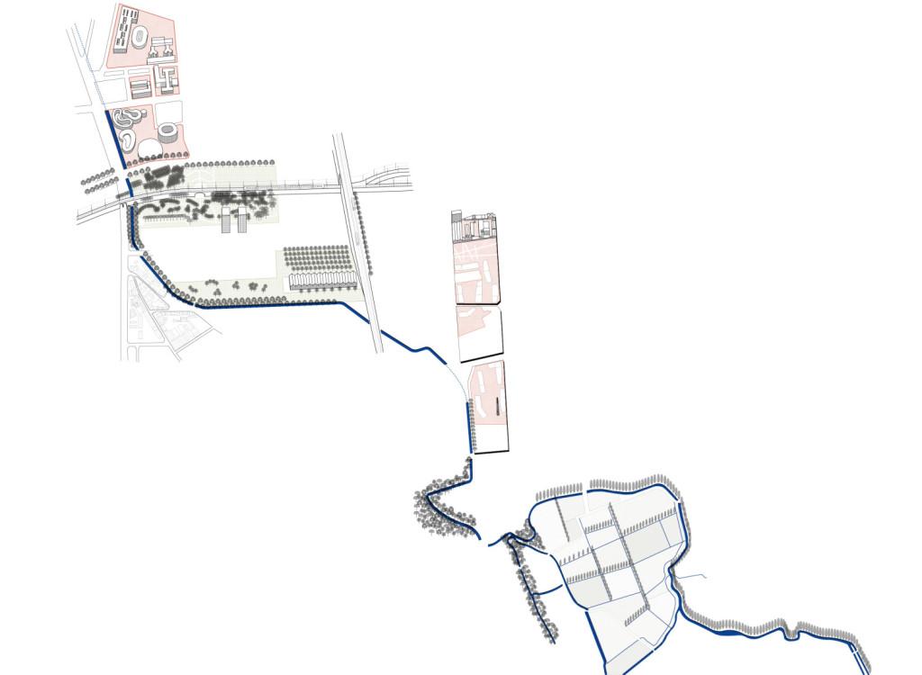 Il sistema degli spazi potenziali lungo la roggia Vettabbia. © Nicola Russi. Disegno realizzato con la collaborazione di Giada Spano.