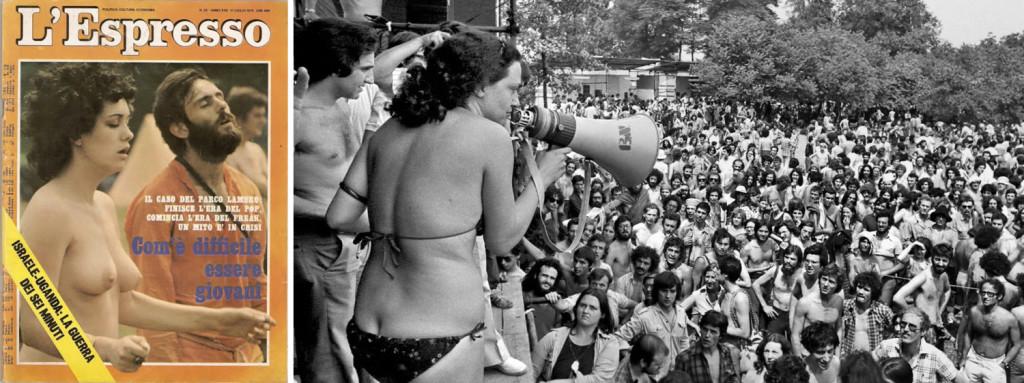 """Per l'Espresso, nel 1975 al Parco Lambro """"finisce l'era del pop, comincia l'era del freak"""": il fiume, per una volta, al centro. Fonte: www.metallized.it // www.news-art.it © Dino Fracchia"""