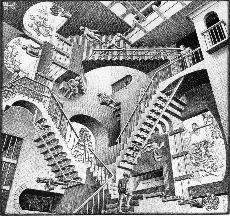 M. C. Escher, Relatività, 1953